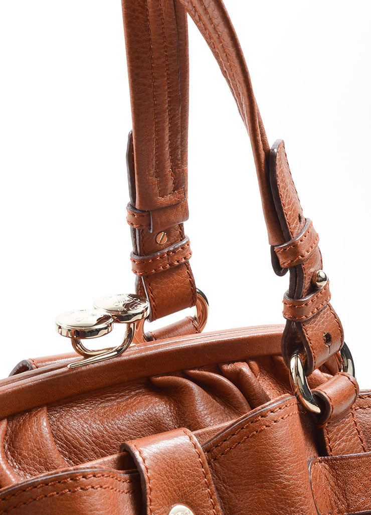 Celine Caramel Pebbled Leather Satchel Handbag Detail 2