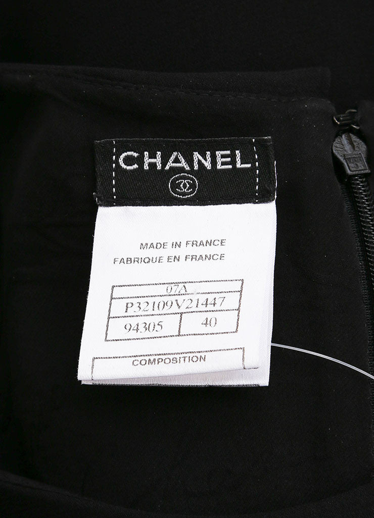 Chanel Black Silk Tiered Sleeveless Drape Dress Brand