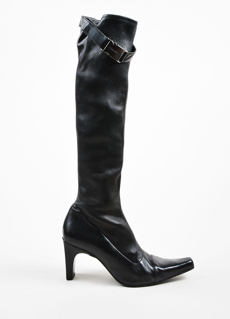 Chanel Black Leather Stretch Pointed Toe Knee High Boots Sideview