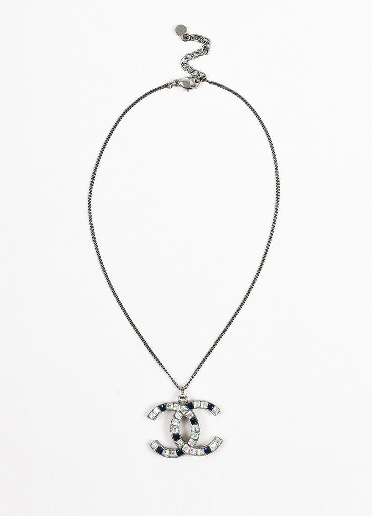 Chanel Silver Toned and Blue Metal Rhinestone Embellished 'CC' Pendant Necklace Frontview