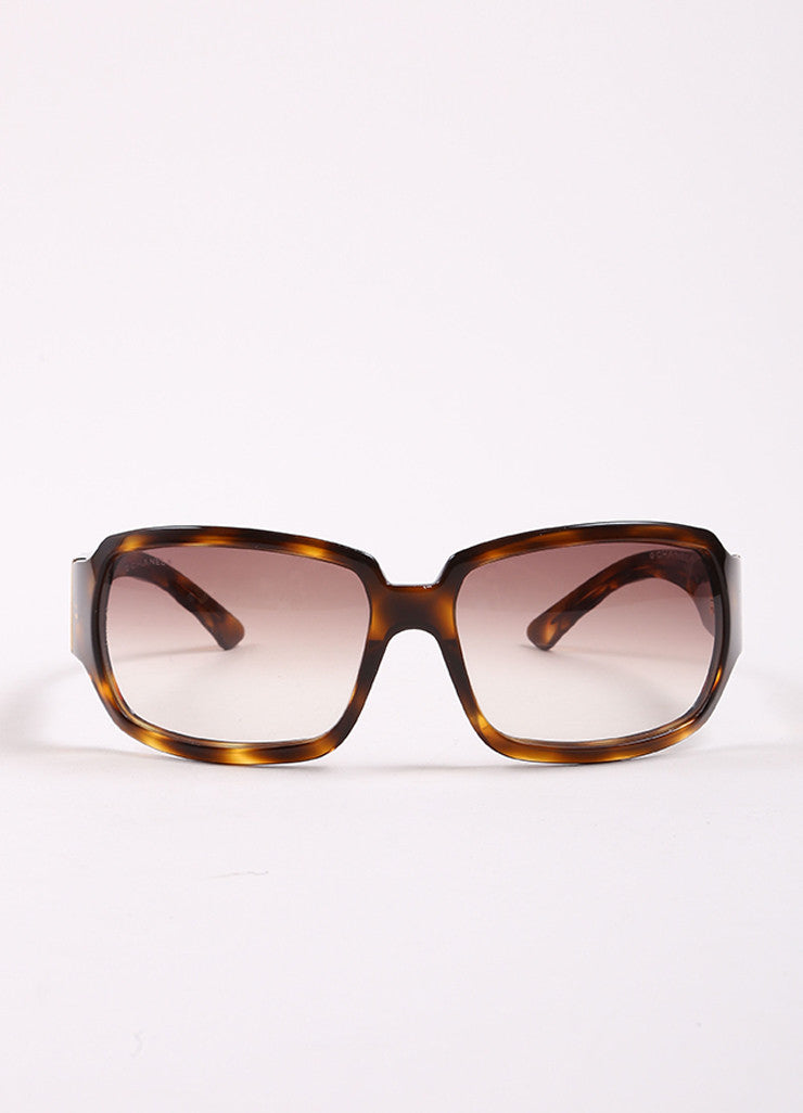"Chanel Tortoise Brown Translucent Oversized Quilted ""5061"" Sunglasses Frontview"