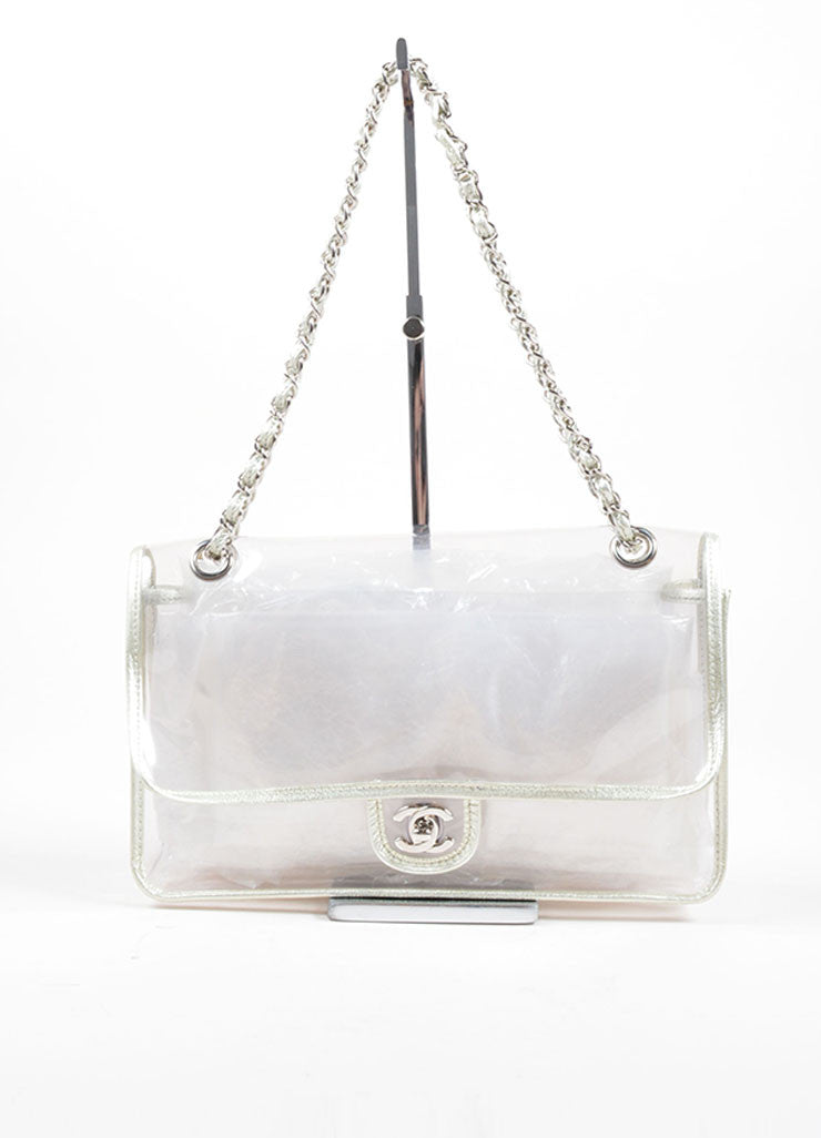 "Chanel Transparent Silver Leather Trim ""Naked"" Classic Flap Bag Frontview"