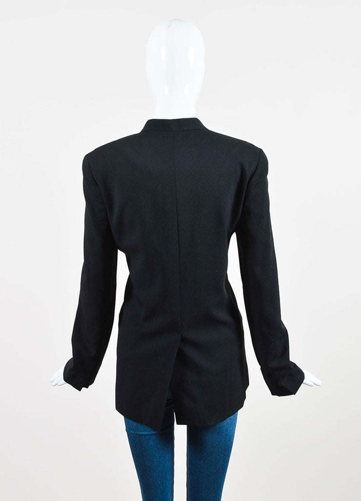 Black Chloe Crepe Wool Metallic Lapel Button Up Blazer Jacket Back