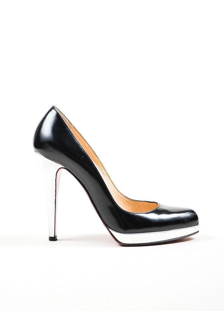 "Black and Silver Leather Christian Louboutin ""Mirror Decollete"" Pumps Sideview"