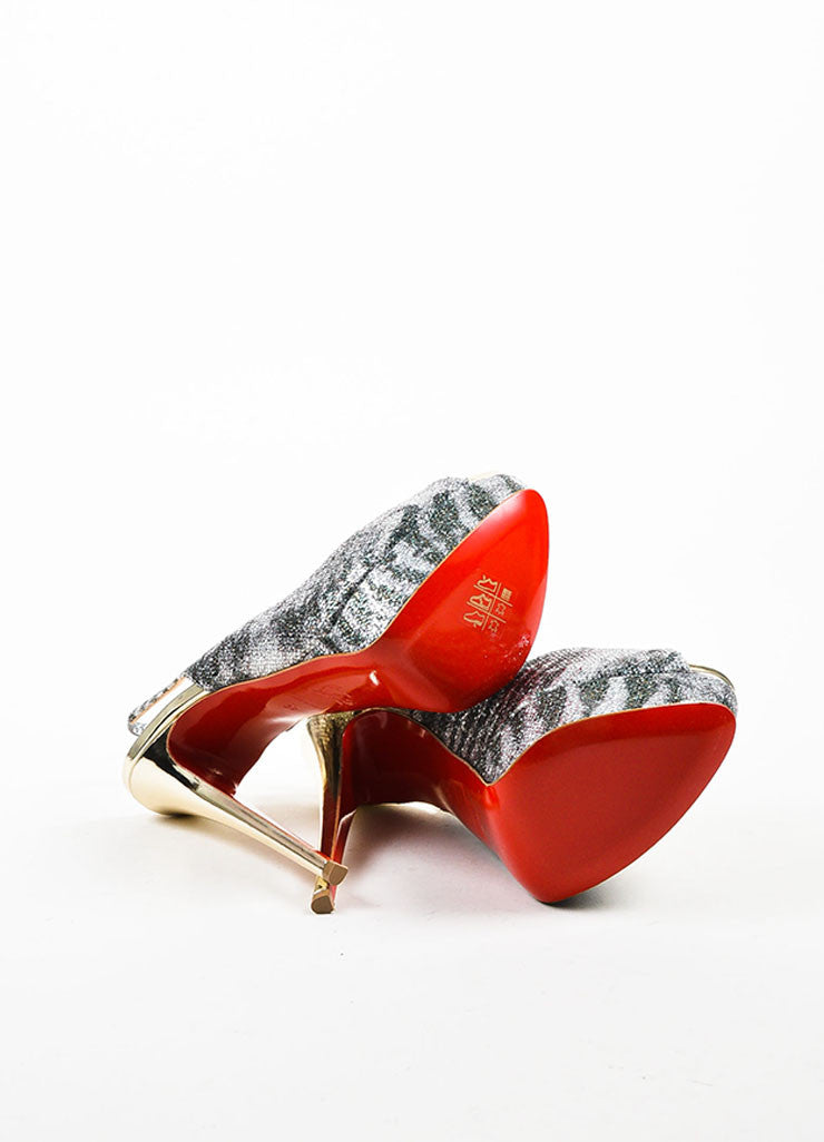 "Silver and Green Glitter Christian Louboutin ""Lady Peep"" Sling Pumps Outsoles"