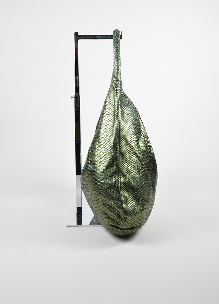 Devi Kroell Green Metallic Snakeskin Oversized Hobo Shoulder Bag Sideview