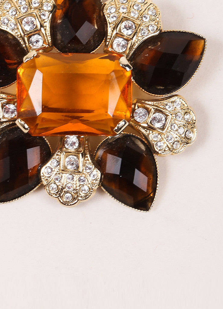 Dolce & Gabbana Brown and Gold Toned Rhinestone and Gem Embellished Pin Brooch Detail