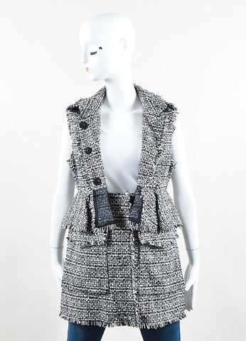 "Erdem Black and White Cotton Tweed Convertible ""Dorina"" Vest  Frontview"