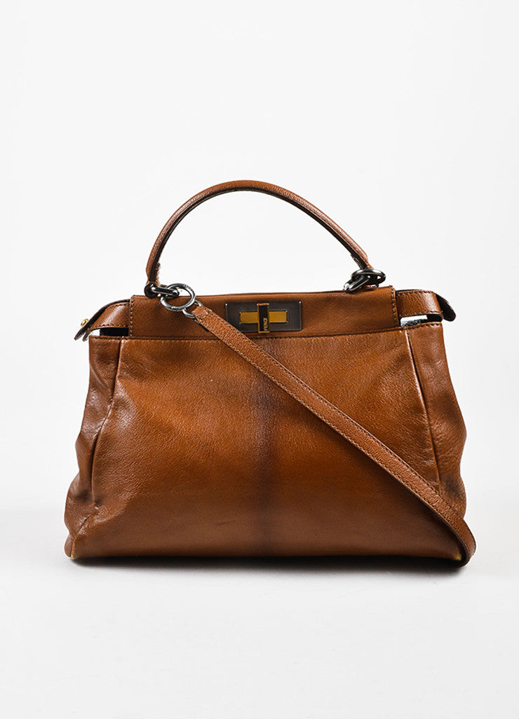 "Fendi Brown Leather Small ""Peekaboo"" Bag Frontview"