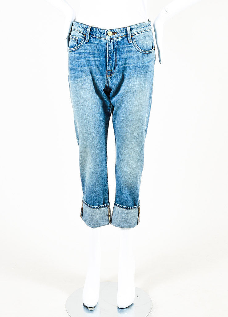 "Frame Denim Blue ""Wellsley"" Faded ""Le Grand Garcon"" Jeans Frontview"