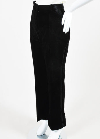 Black Givenchy Velvet High Waisted Straight Leg Trouser Pants Sideview