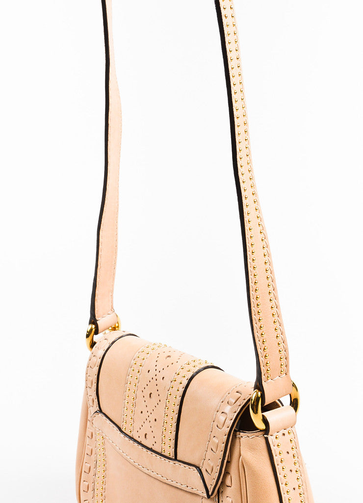"Gucci Beige Leather Gold Toned Stud Tassel ""Small Snaffle Bit"" Bag Detail 2"