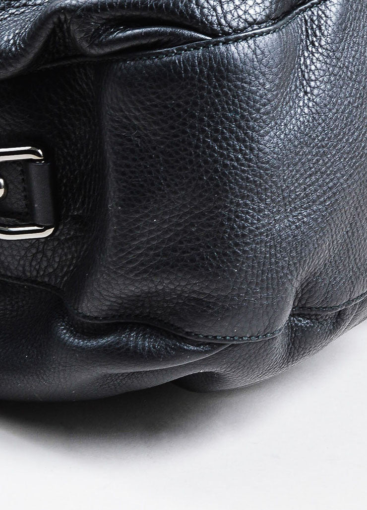 "Black Leather and Silver Toned Chain Gucci ""Icon Bit Large Boston"" Duffle Purse Bag Detail"