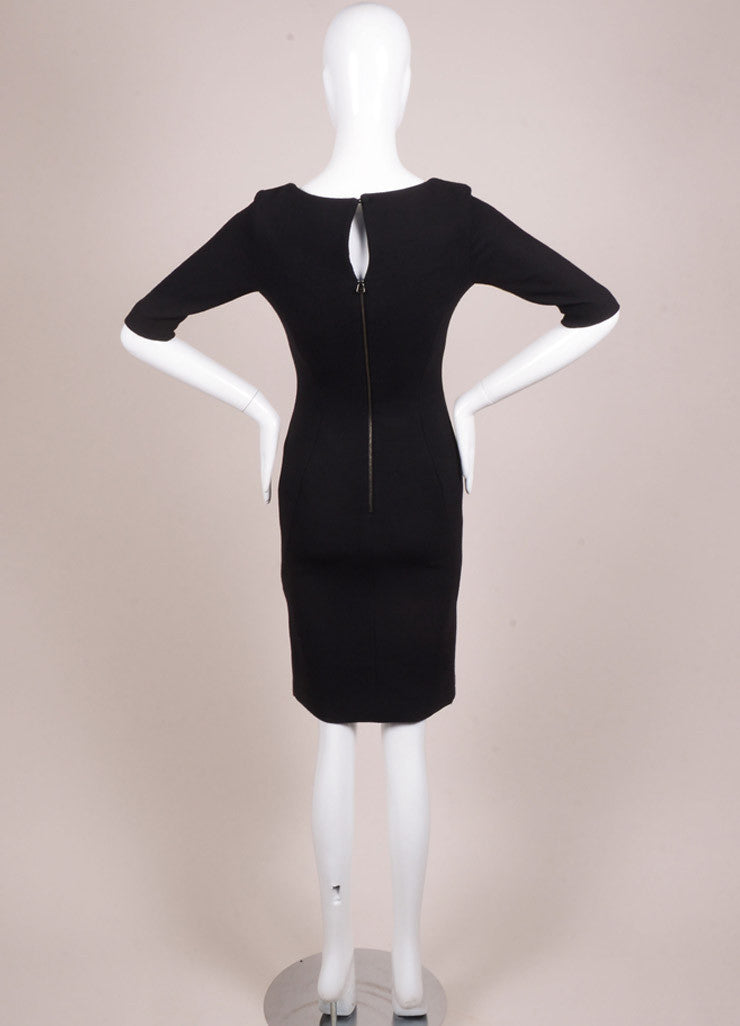 Holmes & Yang New With Tags Black Wool Half Sleeve Scoop Neck Sheath Dress Backview