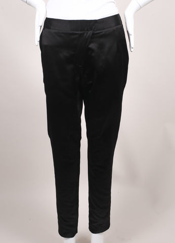 Jason Wu New Black Silk Duchess Satin Stovepipe Dress Pants  Frontview