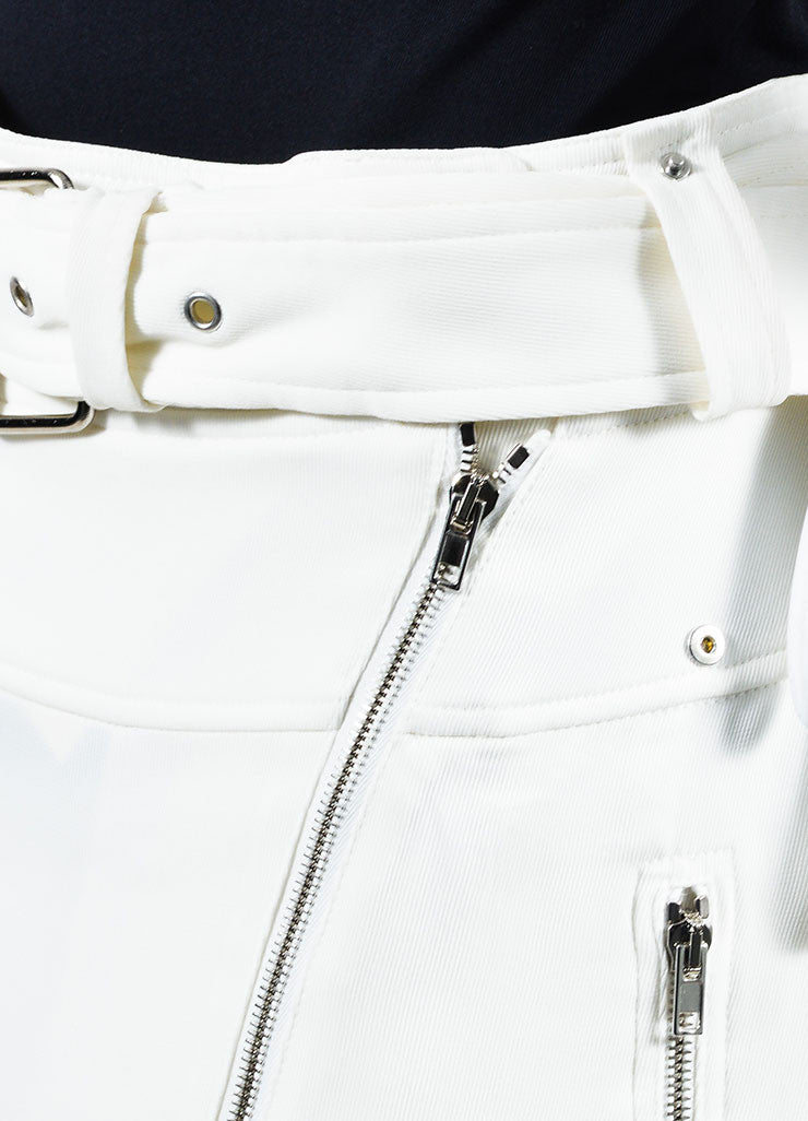 White Jean Paul Gaultier Cargo Moto Zip Pencil Skirt Detail