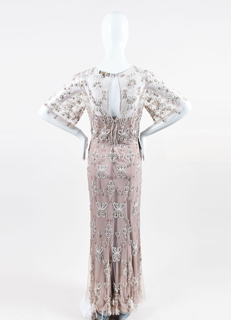 Taupe and White Jenny Packham Beaded and Sequined Short Sleeve Floor Length Gown Backview