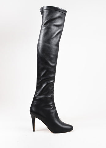 "Jimmy Choo Black Stretch Leather Thigh High ""Turner"" Boots Sideview"