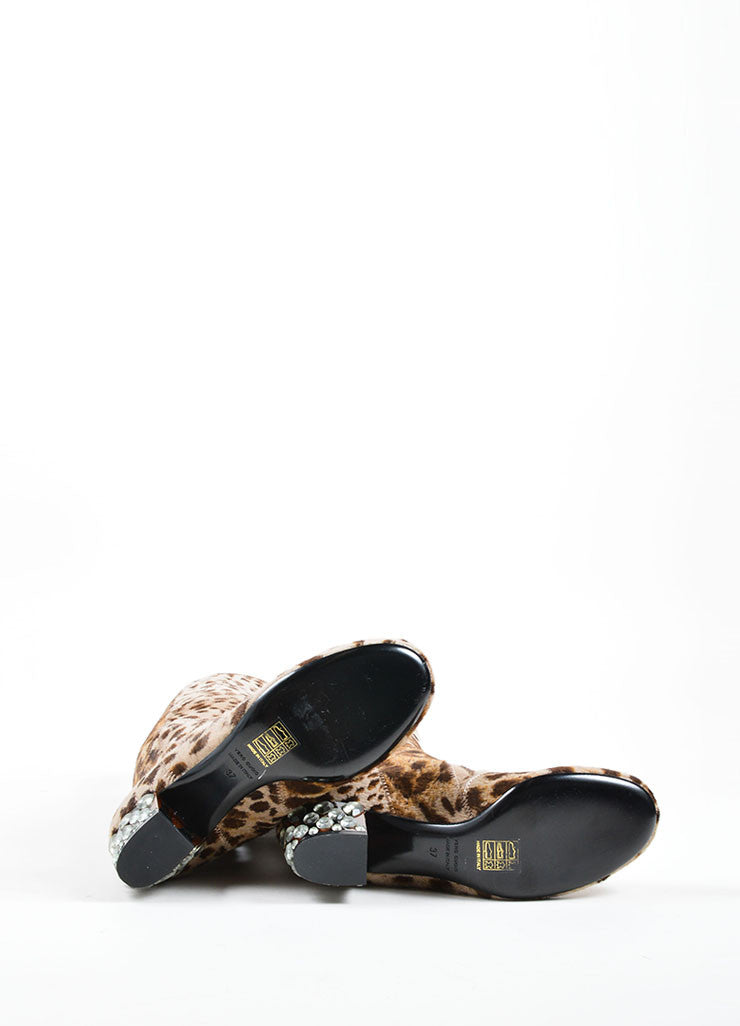 Lanvin Multi-Brown Pony Hair Leopard Print Heeled Boots Outsoles
