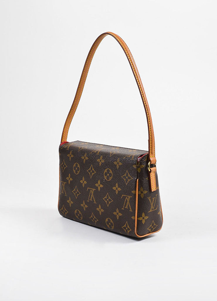 "Louis Vuitton Brown and Tan Coated Canvas Monogram ""Recital"" Shoulder Snap Bag Sideview"