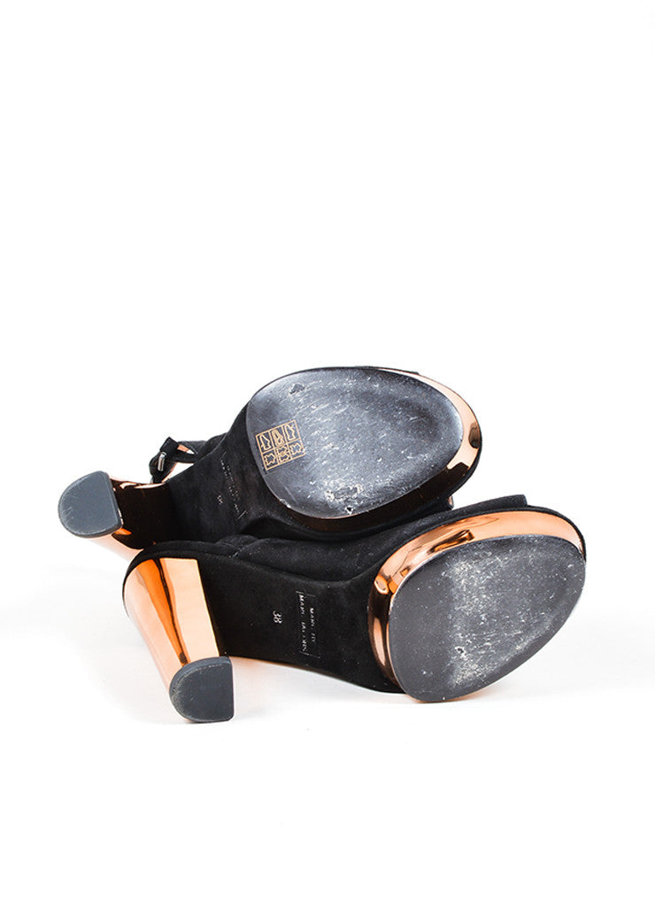 Marc by Marc Jacobs Black and Rose Gold Suede Platform Slingback Chunky Heels Outsoles