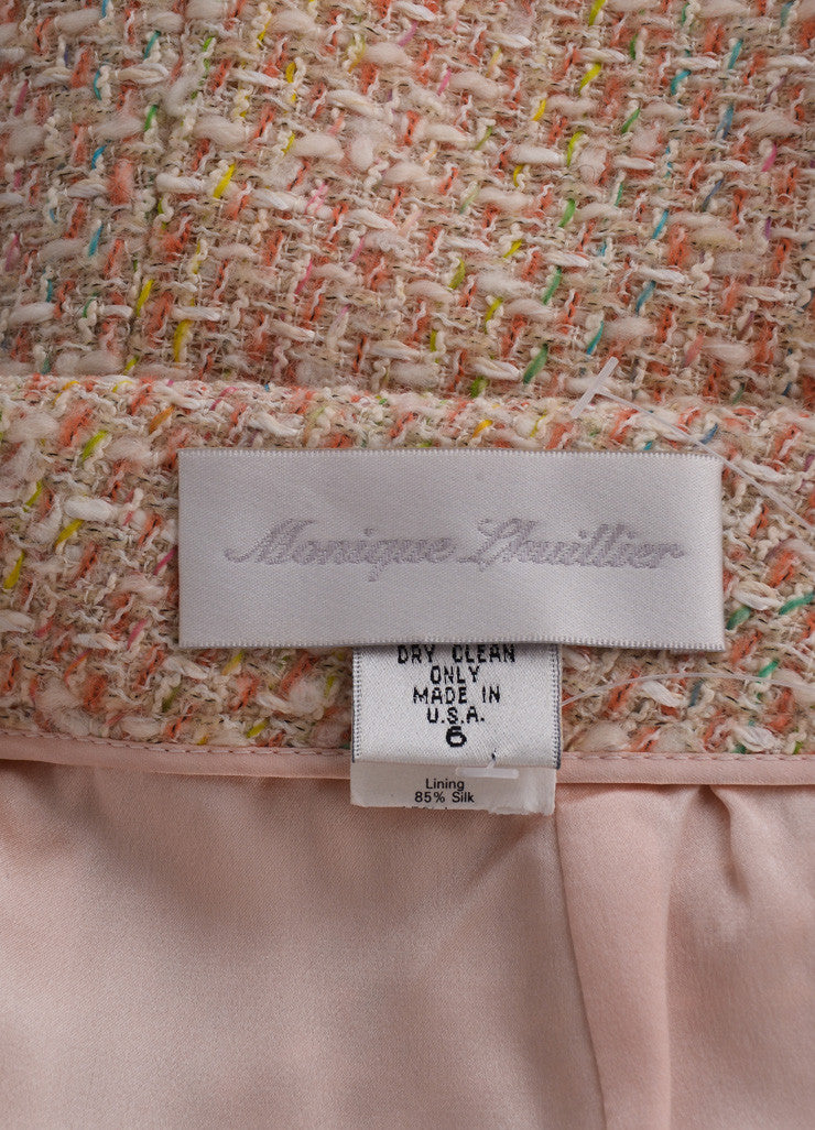 Monique Lhuillier Pink and Cream Wool and Cotton Tweed Skirt Brand