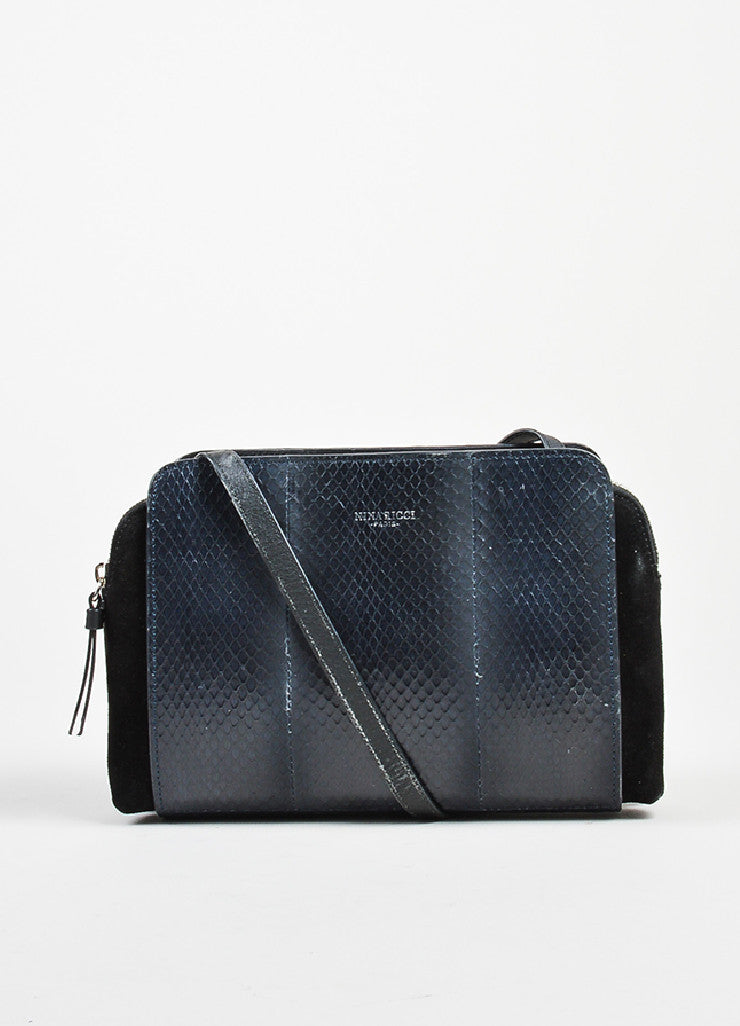 "Black and Blue Nina Ricci Suede and Snakeskin Cross Body ""Marche Duo"" Bag Frontview"
