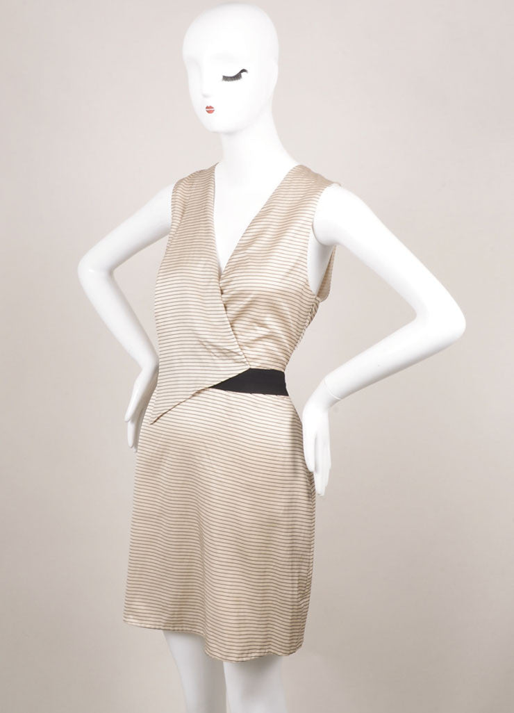 3.1 Phillip Lim Nude and Black Cotton and Silk Striped V-Neck Sleeveless Dress Sideview