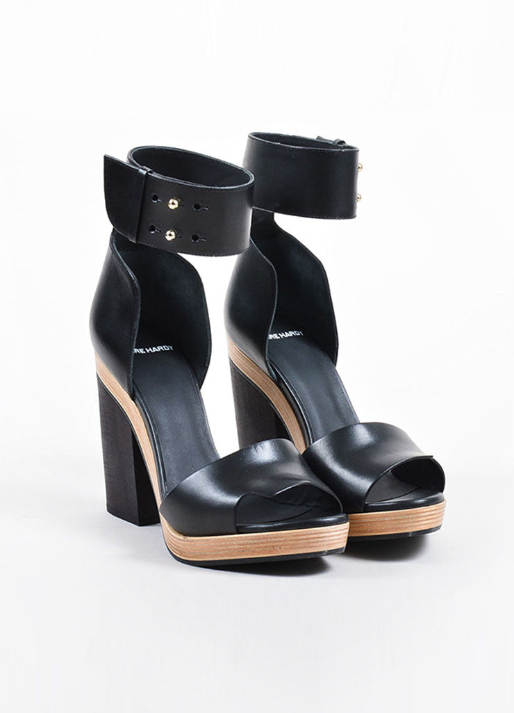 Pierre Hardy Black Leather and Wood Ankle Strap Heel Sandals Frontview