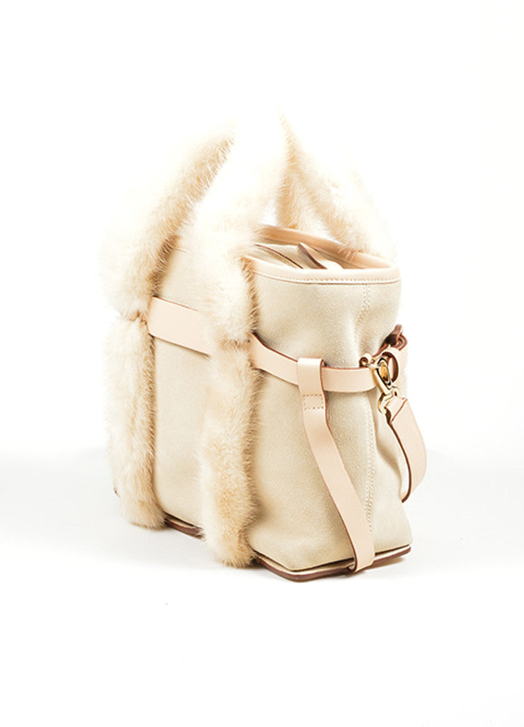 Beige Salvatore Ferragamo Suede and Mink Fur Handle Shoulder Bag Sideview