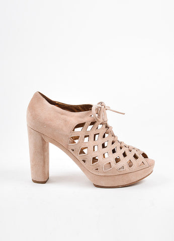See by Chloe Nude Suede Cut Out Platform Open Toe Heels Sideview