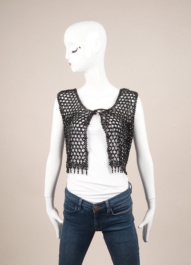 Vintage Black Faceted Woven Bead Tie Cropped Vest Frontview