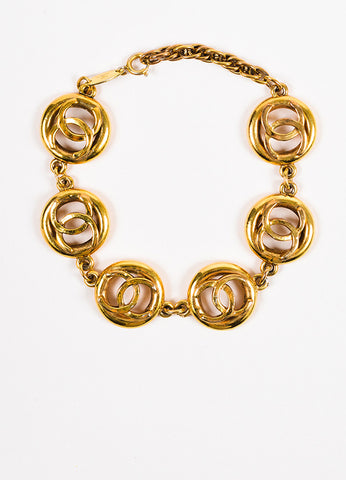 Chanel Gold Toned 'CC' Logo Chain Bracelet Frontview