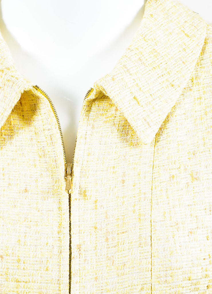 Chanel Yellow and White Tweed Zipped Front Split Long Structured Coat Detail