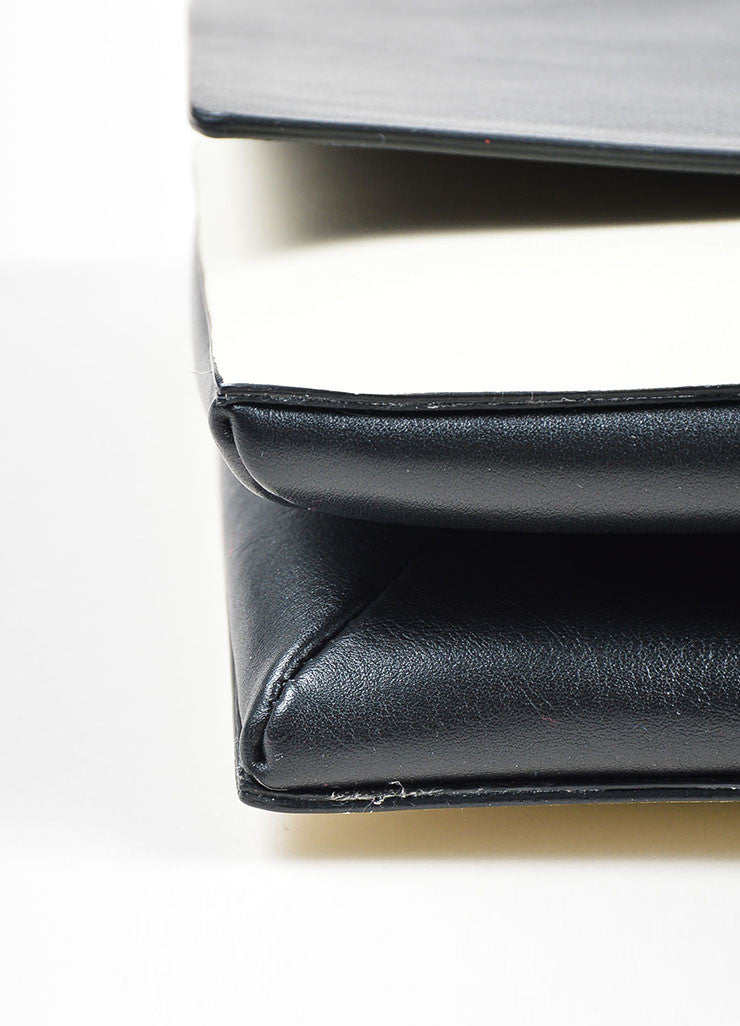 Black and White Two Toned Valentino Leather Rectangle Clutch Bag Detail