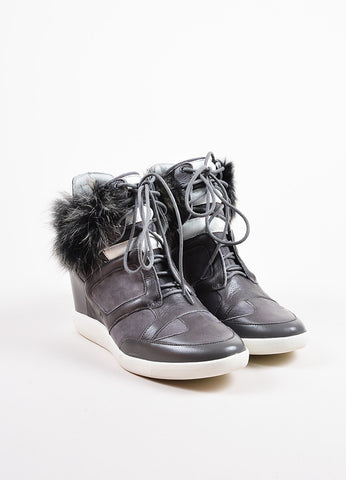 "Y-3 Yohji Yamamoto Grey Suede Leather Fur ""Sukita"" High Top Sneakers Front"