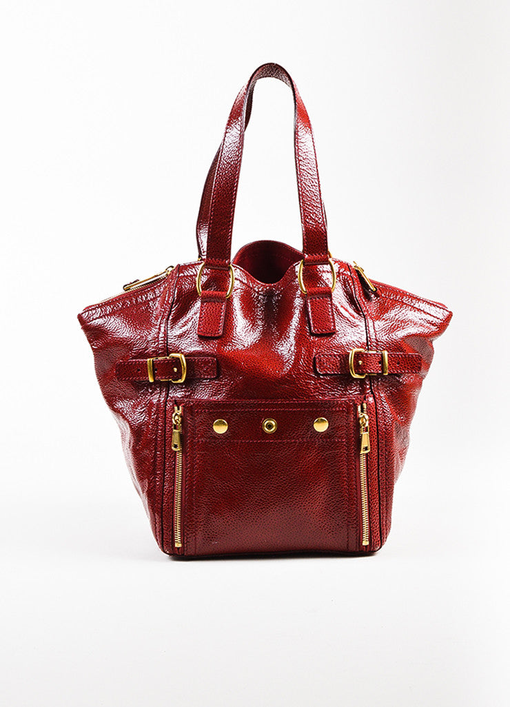 "Yves Saint Laurent Rive Gauche Red Patent Leather Small ""Downtown"" Bag Frontview"