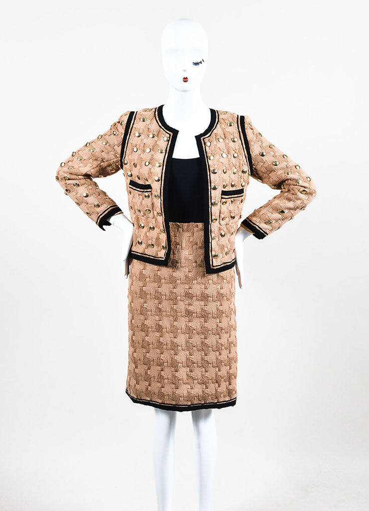 Tan and Black Chanel Woven Button Embellished Skirt Suit Frontview