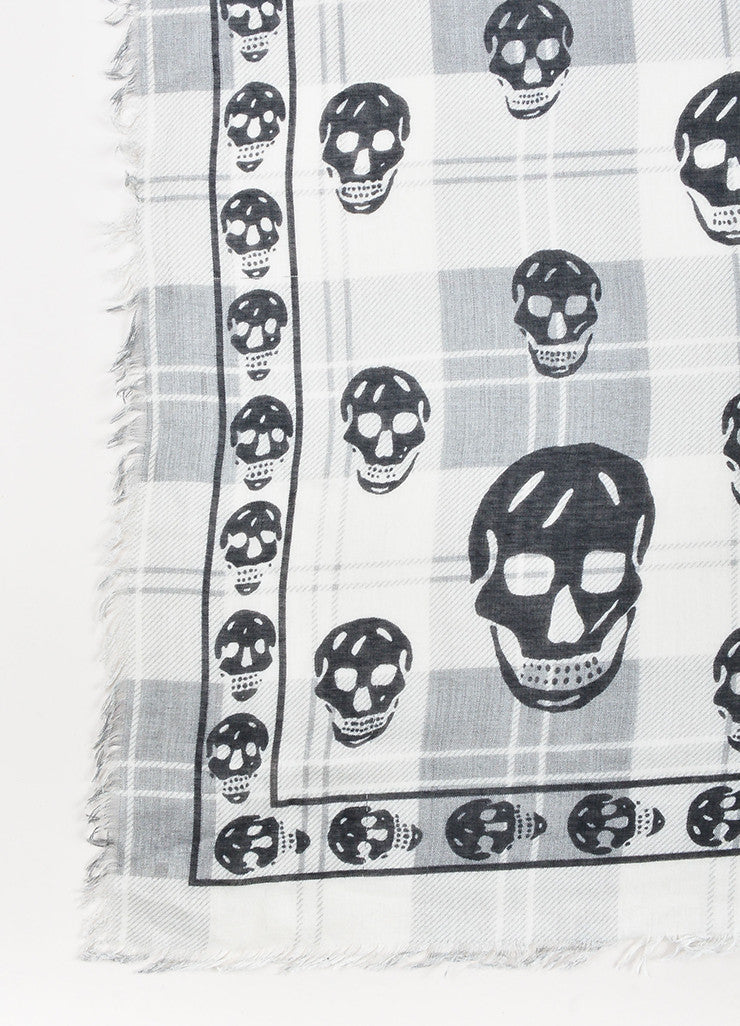 White Grey Black Alexander McQueen Plaid Skull Scarf Detail 2
