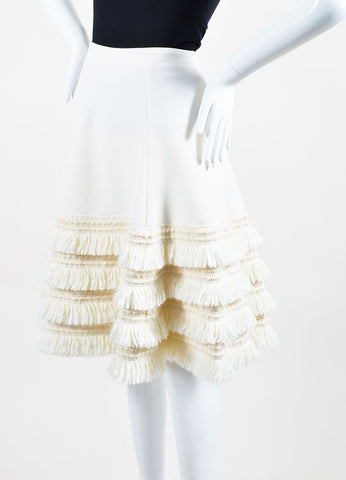Cream Andrew Gn Virgin Wool Tiered Fringe A-Line Skirt Sideview