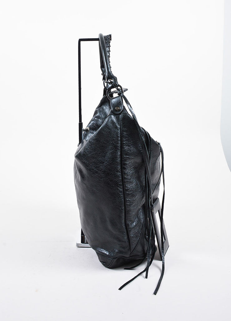 "Black Coated Leather Balenciaga ""Classic Giant Day"" Hobo Bag Sideview"