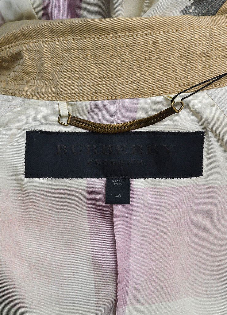 Burberry Prorsum Khaki Cotton Ruched Knot Snap Front Belted Jacket Brand