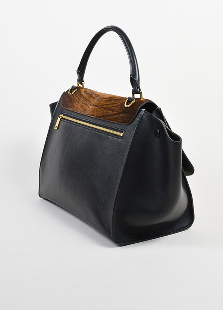 Black and Brown Celine Leather and Pony Hair Stripe Tote Bag Sideview