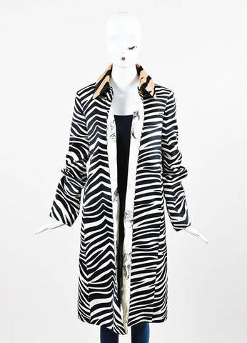 Celine White, Black, and Tan Zebra Striped Pony Hair Collar Jacket Frontview