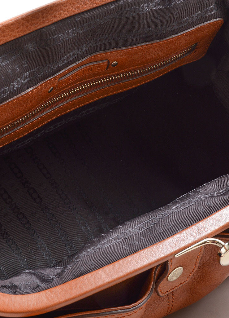 Celine Caramel Pebbled Leather Satchel Handbag Detail 3
