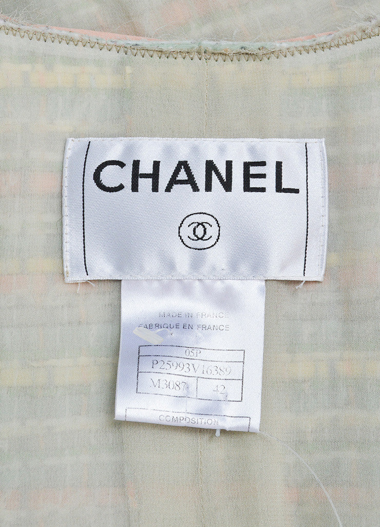 "Multicolor Pastel Silk Blend Ribbon Chanel ""CC"" Jacket Brand"