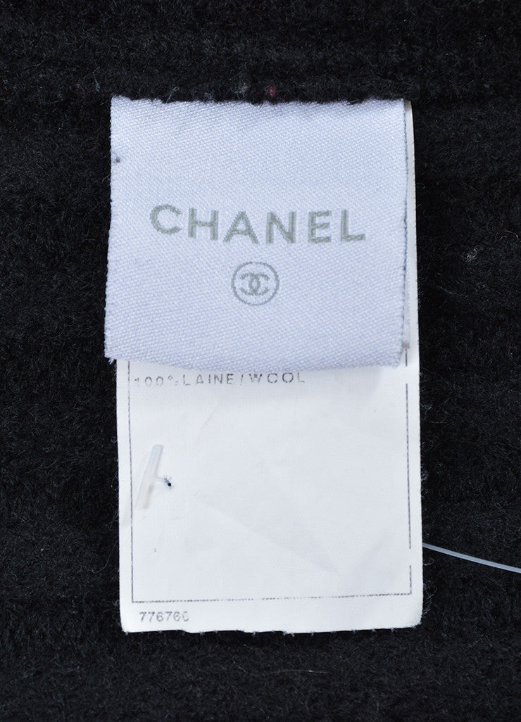 Black and White Chanel Wool Double Breasted Coat Brand