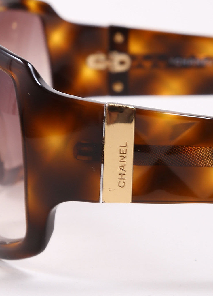 "Chanel Tortoise Brown Translucent Oversized Quilted ""5061"" Sunglasses Detail"