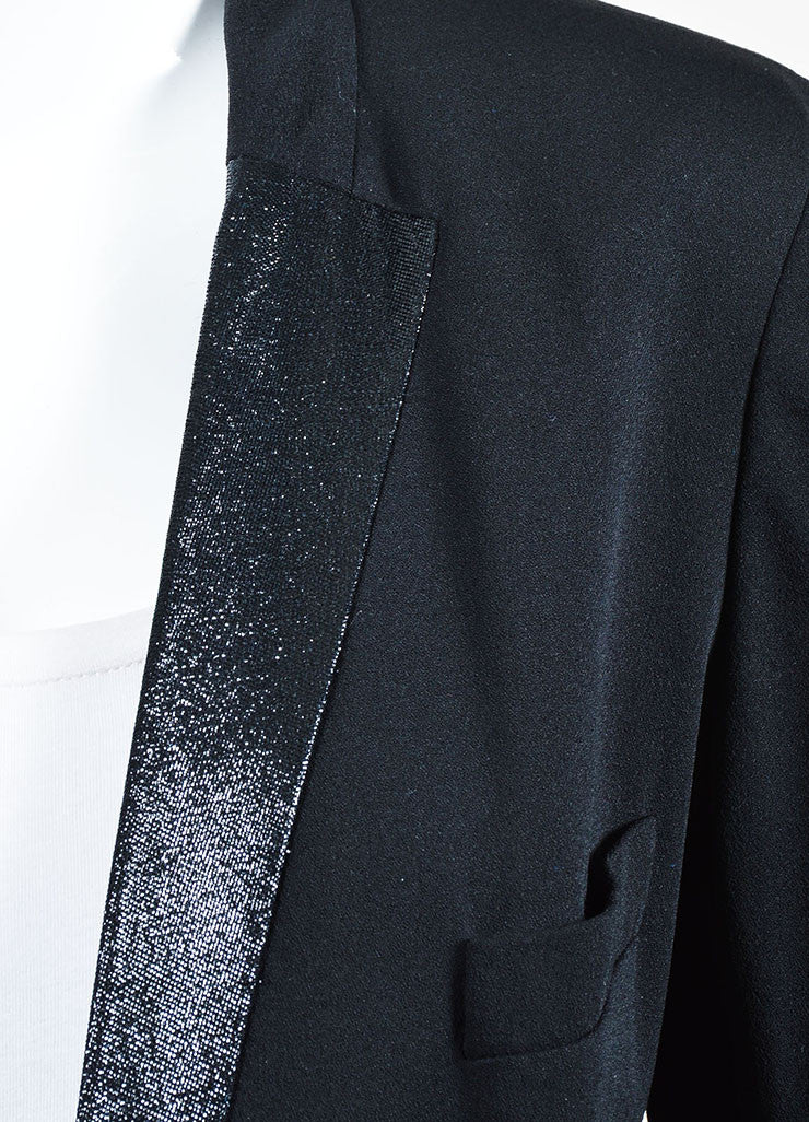 Black Chloe Crepe Wool Metallic Lapel Button Up Blazer Jacket Detail