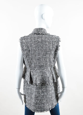 "Erdem Black and White Cotton Tweed Convertible ""Dorina"" Vest  Backview"